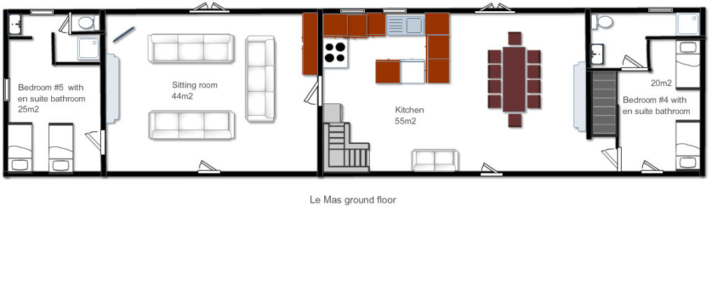 The floorplan for the ground floor of Le Mas, a 5-star holiday home in the Dordogne