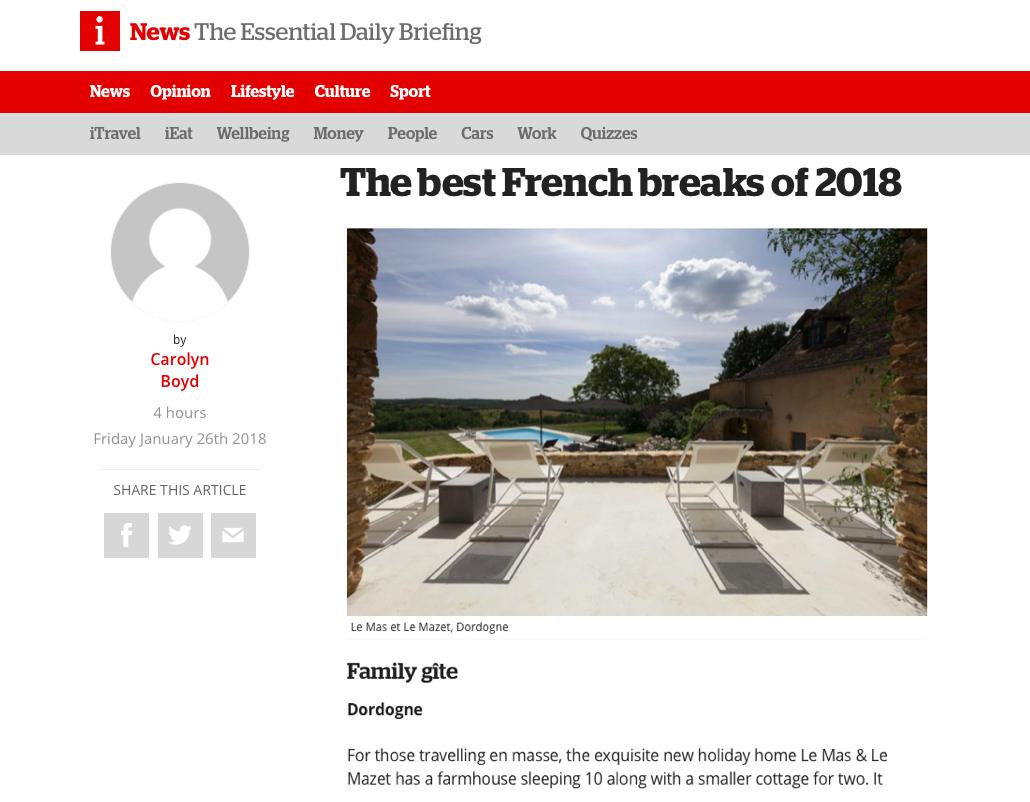 "i news' ""Best French breaks"", January 2018"