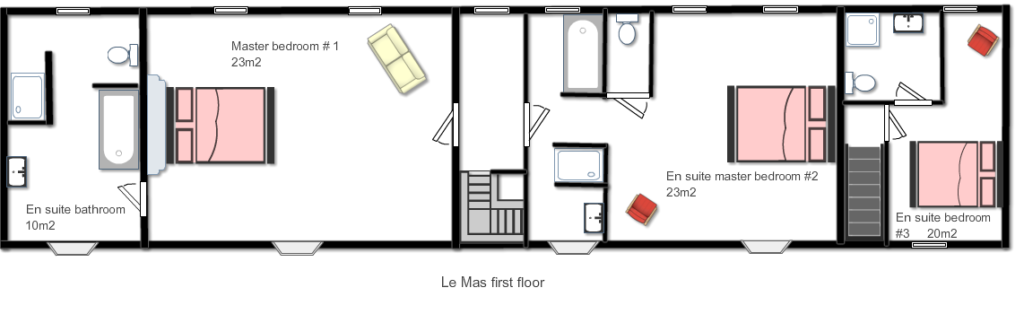 The floorplan of the first floor of Le Mas, a 5-star holiday accommodation in the Dordogne