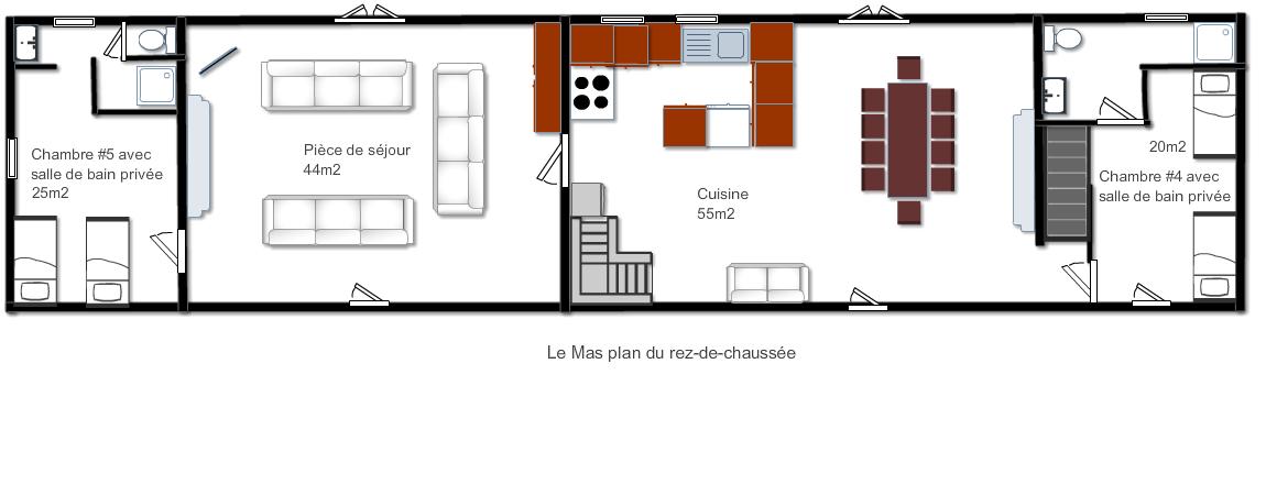 Plan du rez-de-chaussée de Le Mas, logement de vacances en Dordogne