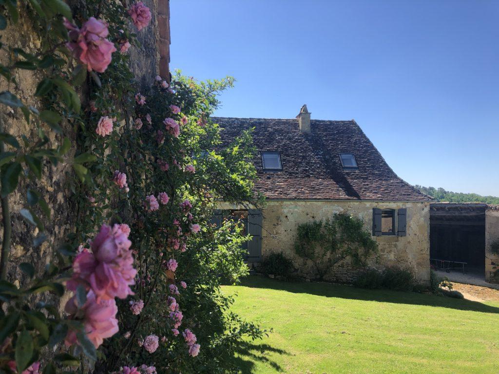 Un mur avec des roses devant une pelouse et un gîte en Dordogne, Le Mas