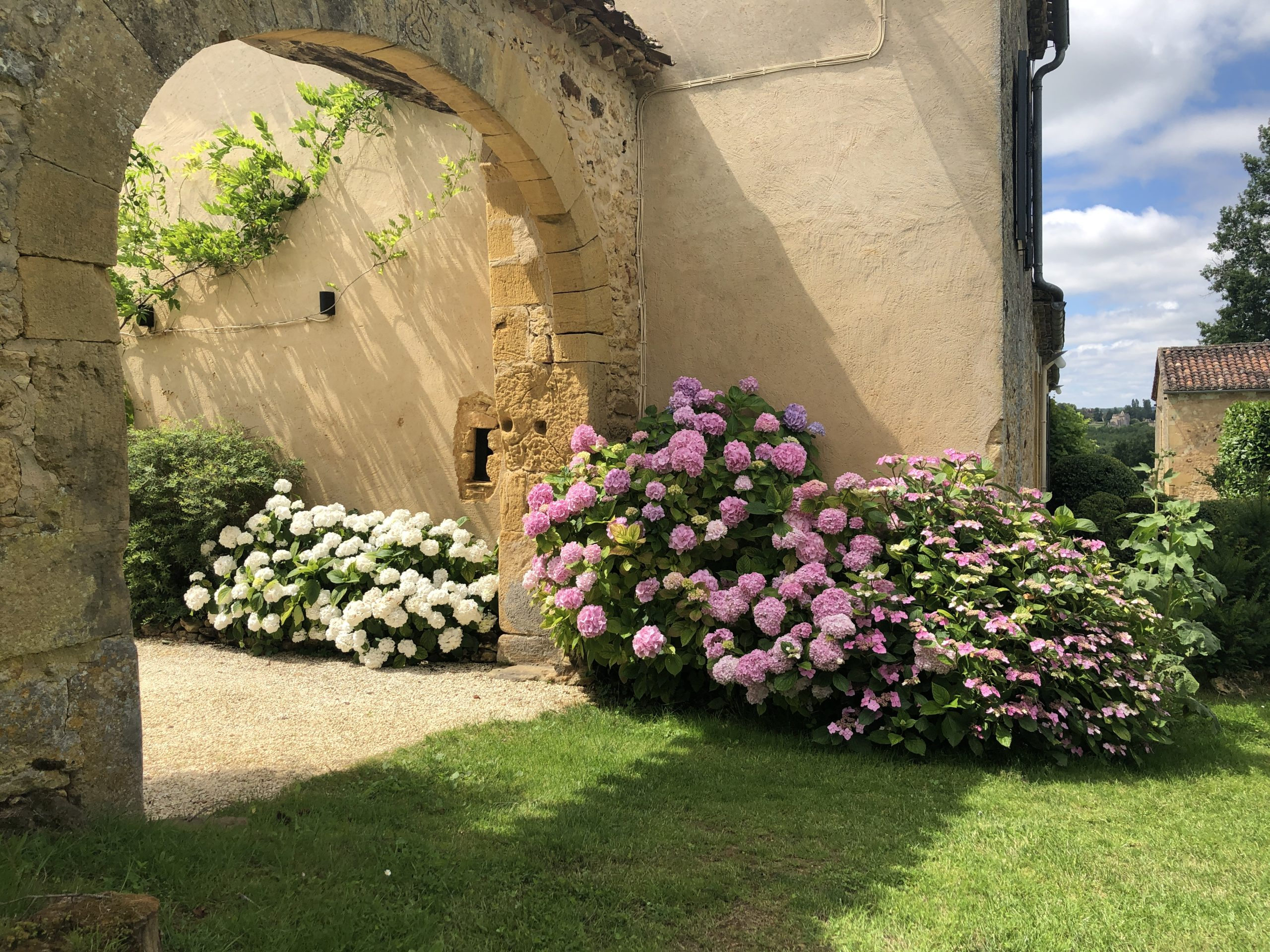 Luxury holiday accommodation in the Dordogne with pink and white hydrangea growing either side of a stone arch