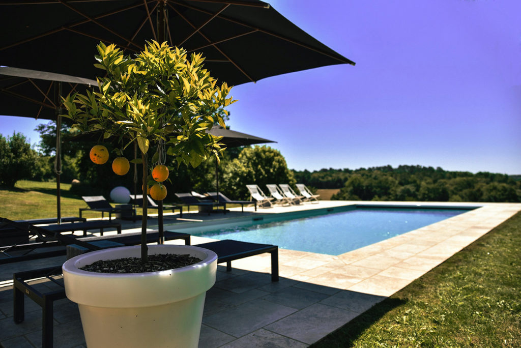 5-star gîte in the Dordogne with private heated saltwater swimming pool and a terrace with Gescova sun loungers, parasols and white pots with orange trees