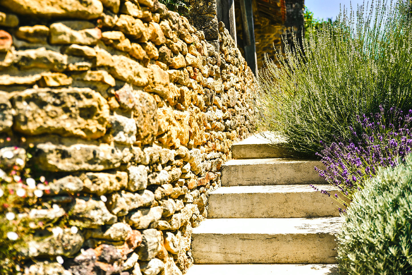 Luxury holiday accommodation in the Dordogne with steps brushed by lavender